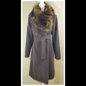 Jennifer Lopez Faux Fur Crossover Coat - Sz M